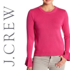 J. Crew Cotton Ruffle Cuff Sweater M